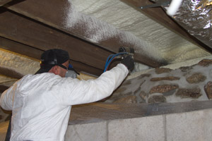 Spray Foam in the crawl space in Easton